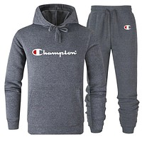 Champion tide brand men and women models cotton wild hooded sweater sports suit two-piece Grey
