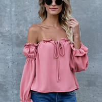 Fashion Off Shoulder Long Sleeve Ruffle Chiffon Blouse - NOVASHE.com