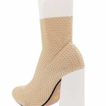 Block Heel Knitted Beige Sock Boots