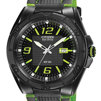 Citizen DRIVE BRT Mens Sport Watch - Black and Lime Green - Date - Leather Strap