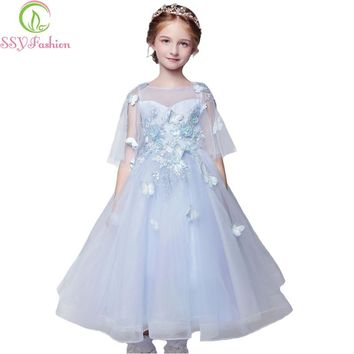 Flower Girl Dresses Children Princess Sweet Light Blue Lace Butterfly with Jacket Prom Long Party Gown