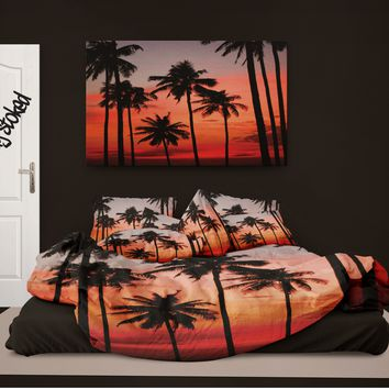 Surfer Bedding Palm Trees at Sunset Eco Friendly Beach Duvet Cover
