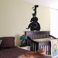 KIDS WALL ART STICKER BABY ROOM NURSERY BOY GIRL BEDROOM ANIMAL TOWER 22