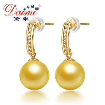 DAIMI Gold Pearl Earrings 10-11mm Big South Sea Earrings Pure 14k Yellow Gold Studs Earrings Fine Jewelry