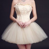 Champagne Strapless Frill Sweetheart Lace Overlay Homecoming Dress