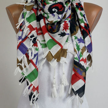 Cotton %100, White Scarf, Fashion Accessories, Indian Scarf, Pure Cotton, Yarn Fringe, Women Fashion Accessories, Fabric Scarf, Colorful