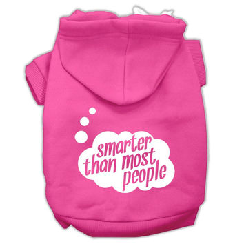Smarter then Most People Screen Printed Dog Pet Hoodies Bright Pink Size Med (12)