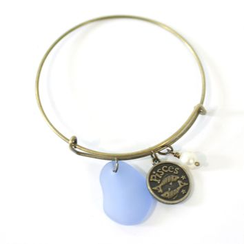 Bronze Pisces Bracelet - Blue Sea Glass, Swarovski Pearl and Antique Brass - Simple Zodiac Accessory - One Size Fits All - Zodiacharm - Clay Space