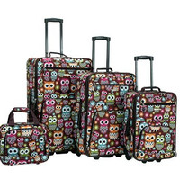 4 Pc Owl Leopard Luggage Set