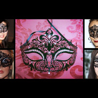 Hot Trendy Black Crown Metal Venetian Prom Ball Mask Masquerade Laser Cut Designed w/ Luxurious Sparkly Crystal Rhinestones