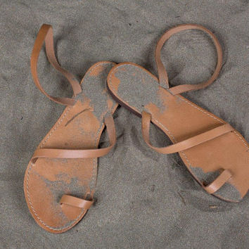 FREE SHIPPING - Genuine Greek Leather Sandal : Gaia (Natural color strap)