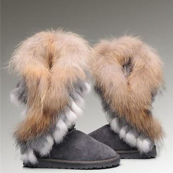 CREYUX5 UGG Fox Fur Tall Boots 8688 Grey Popular