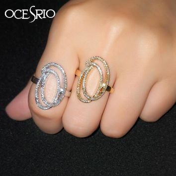 OCESRIO Korean Style Dainty Cubic Zirconia Luxury Rings for Women Fancy Copper Cocktail CZ Engagement Rings Jewellery  rig-f78