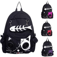 Speaker Bag KIT Cat Animal Rucksack Backpack Emo Gothic Plug & Play Fish Bone Boys Girls Gift