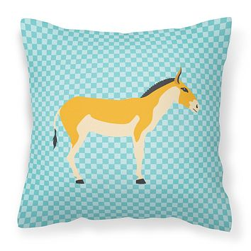 Turkmenian Kulan Donkey Blue Check Fabric Decorative Pillow BB8028PW1818