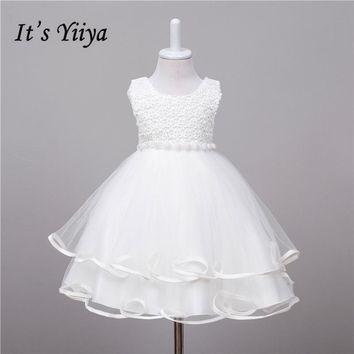 It's YiiYa 3 Colors Handmade Beading Sleeveless O-Neck Lace Tiered Kids Princess Flower Girls Dress Communion Dress TS078