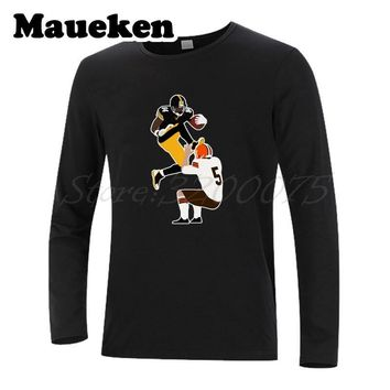 Men AB Pittsburgh 84 Antonio Brown Minimalist T-Shirt Long Sleeve Clothes steelers T SHIRT Men's Autumn Winter W17080707