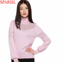 Sparsil Women Winter&Autumn Pierced Turtleneck Knitwear Cashmere Blend Sweater Female Lantern Sleeve Knitted Jumper Pullover