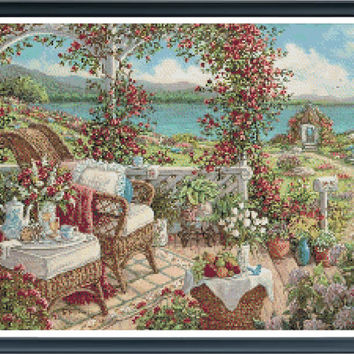 Breakfast on the veranda - modern painting sea side scene with lovely garden and patio  pdf cross stitch pattern INSTANT DOWNLOAD