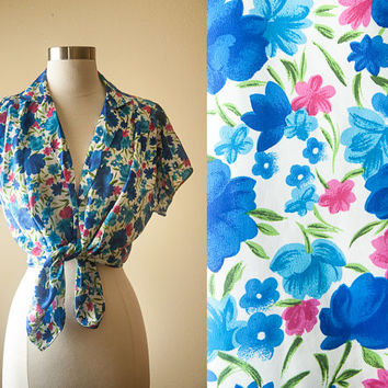 Vintage 80s Secretary Blouse | Floral Print Festival Top | Retro Blouse Hippie Boho Slouchy Top Festival Shirt Button Down Shirt