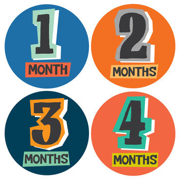 Color Cutout Monthly Baby Stickers