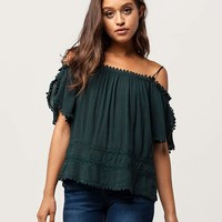 PATRONS OF PEACE Crochet Womens Cold Shoulder Top   Tanks