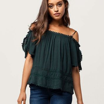 PATRONS OF PEACE Crochet Womens Cold Shoulder Top | Tanks