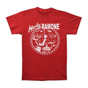 Ramones Men's  Red Drums Icon Logo Slim Fit T-shirt Red Rockabilia