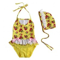 Vintage Inspired Girls Clothes Vindie Baby Yellow Swimsuit One Piece Swimsuit Bathing Suit Yellow Bowtie | Vindie Baby