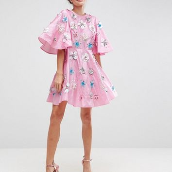 ASOS SALON Embellished Taffeta Skater Mini Dress at asos.com