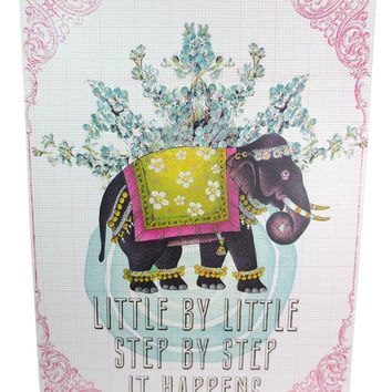 """Vintage Inspired Art Lucky Elephant """" Little By Little Step By Step"""" Wall Art with Encouraging Message"""