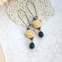 Ivory Rose Flower, Midnight Navy Blue Pearl Dangle Earring. Rustic Nature Garden Country. Bridal Wedding, Bridesmaid Gift, Something Blue,