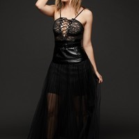 Season of the Witch Black Tulle Faux Leather Belted Maxi Skirt