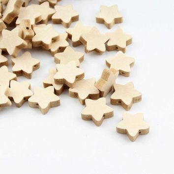 ac spbest 30pcs Unfinished Natural Wooden Star Spacer Beading Beads 19mm for Baby Teethers DIY Crafts Kids Toys & Pacifier Clip Wood Bead