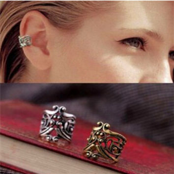 e034 New Punk Rock Ear Clip Cuff Earrings No piercing-Clip on Silver plated Women Men Party Jewelry Cheap Free Ship