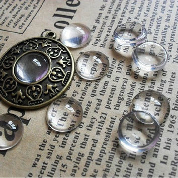 50pcs/lot 12MM Round Flat Back Clear Glass Cabochon, High Quality, Lose Money Promotion!!!
