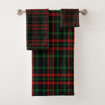 Christmas, Red, Green, Black Plaid Bath Towel Set