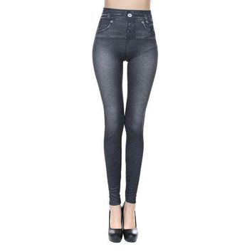 PEAPON New Sexy Women Jeans Skinny Jeggings Stretchy Slim Leggings Skinny Pants Body-hugging imitation cowboy leggings