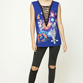 Blue Looney Tunes Lace Up Top