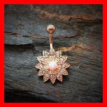 Rose Gold Opal Belly Button Ring Paved Crystal Flower with Opal Center Aurora Borealis Navel Ring Belly Piercing Navel Piercing Jewel