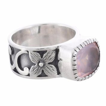 Arvino 925 Sterling Silver Ring With Rose Quartz Gemstone