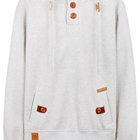 Solid Color Button Deco Long Sleeve Hoodies For Men