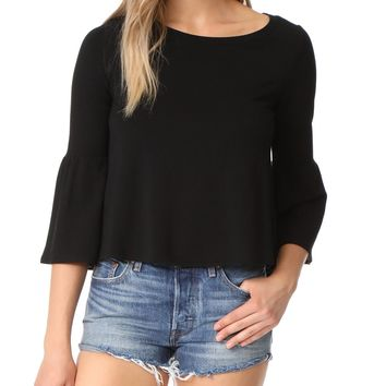 Libby French Terry Ruffle Sleeve Top