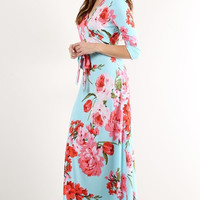 """Creme de la Creme"" Dusty Blue Floral Wrap Maxi Dress"