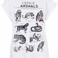 Office Animals Print Tee by Tee and Cake - White