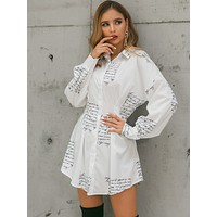 Glamaker Letter Print Shirt Dress