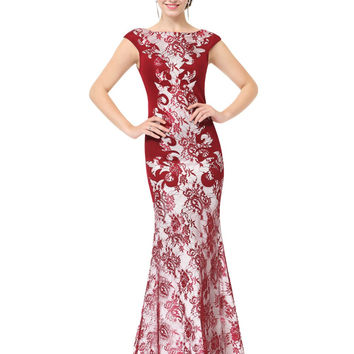 Sexy Long Lace Winter Evening Party Dresses Formal Elegant Maxi Weddings Events Ever Pretty HE08338 Evening Dresses