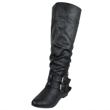 Womens Knee High Boots Fold Over Cuff Buckle Accents Casual Riding Shoes Black S