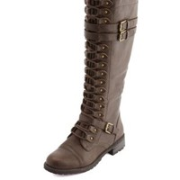 Lace-Up Triple Buckle Boot by Charlotte Russe - Brown