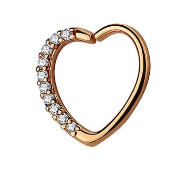 BodyJ4You 16G Daith Earring Paved Clear CZ Heart Rose Gold Tragus Helix Cartilage Hoop Body Jewelry